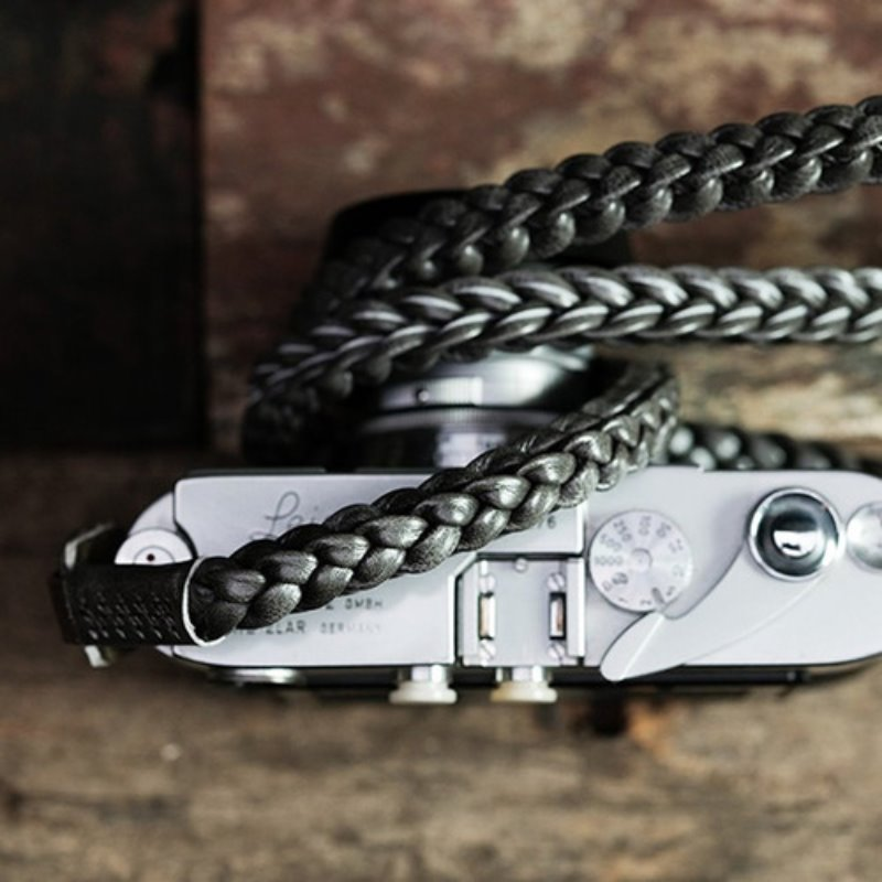 [Barton1972] Leather Neck Strap Braided - Silver Shade